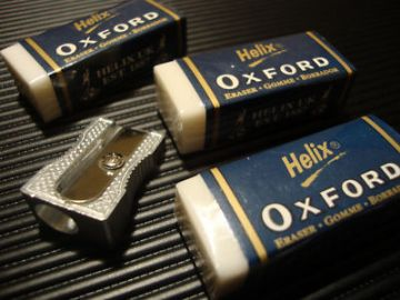 HELIX OXFORD ERASERS x 3  + 1 x HELIX SINGLE HOLE METAL SHARPENER
